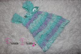 Rüschenkleid aqua/flieder