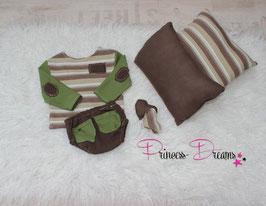 Newborn Set for cool Boys langarm Shirt mit Hose braun/grün gestreift