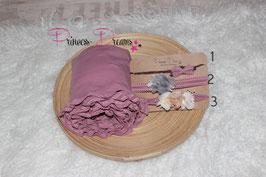 Set Rüschenwrap altrosa & SHB Blumen /Schleife Set altrosa/grau/creme/tan  bitte unten auswählen