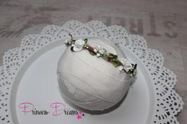 Haarkranz  ab Newborn zum Binden weiß  mit Perlen