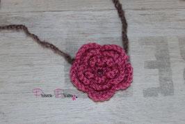 HB636 Mohair Häkelband Blume pink