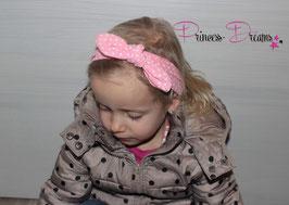 Schleifen-Stirnband ab KU40 rosa /Dots weiß