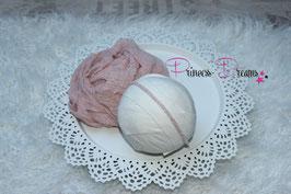 Set Musselin-Fransentuch babyrosa & Perlen Haarband rosa