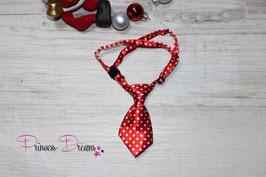 X-MAS Krawatte weiß/rot gepunktet 10x5cm