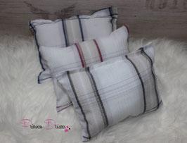 3tlg. Set Pillow weiß versch. kariert