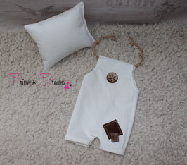 2tlg. Set Cord Pillow/Overall creme-weiß/braun