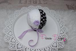 Bonnet Häubchen schwarz weiße Punkte & Blume bitte unten auswählen