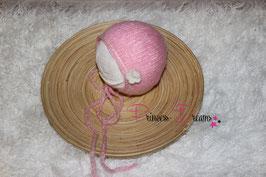 Newborn Mohair Mützchen m. Blume rosa