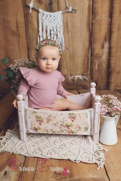 Strick Romper altrosa mit Rüschenärmel Sitzkinder  ca. 12-18 Monate