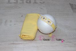 Set Pucktuch gelb & Haarband Perle/Blumen weiß/gelb