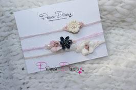 Mohair Haarbänder SHB creme marine rosa mit Perlen