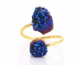 Aquaura Anello in drusa blu scura