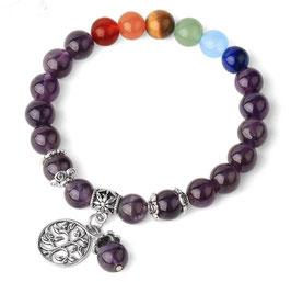 7 Chakra - Bracciale Ametitsa con le 7 pietre diverse e l'albero della vita