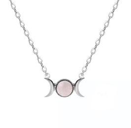 Collanina simbolo della Dea - Triplice Dea in Quarzo Rosa