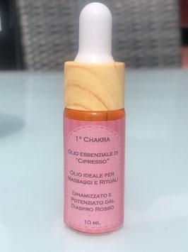 1° Chakra – Olio essenziale di Cipresso Dinamizzato e Potenziato dal Diaspro Rosso