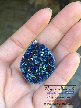 Aquaura drusa blu Collanina