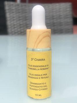 3° Chakra – Olio essenziale di Camomilla Romana Dinamizzato e Potenziato dal Quarzo Citrino