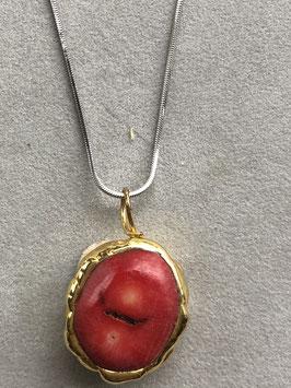 Corallo Rosso - Pezzo Unico - con 2 bagni di oro 24 carati