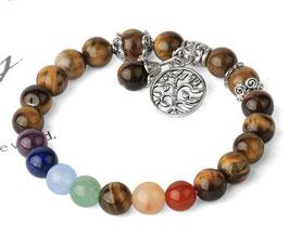 7 Chakra - Bracciale Occhio di Tigre con le 7 pietre diverse e l'albero della vita