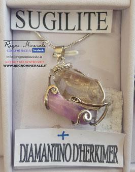 Sugilite + Diamantino di Helkimer - Collanina Elfica
