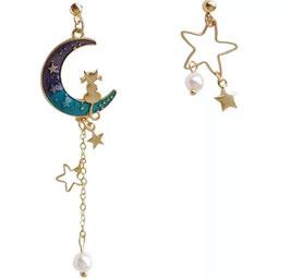 Orecchini Gatto sulla Luna blu e Stella