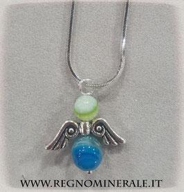 Angioletto in Agata Verde e Agata Blu