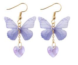 Orecchini Farfalla Lilla con Cuoricino