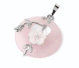 Quarzo Rosa Collanina cerchio con fiore decorato