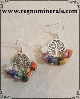 Orecchini con le Pietre per i 7 Chakra e l'albero della vita