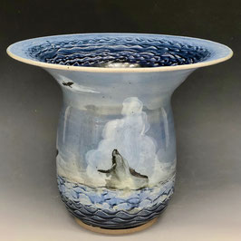 Large Breaching Whales Vase