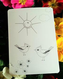 "Postkarte zum Ausmalen: Motiv ""Vögel"""