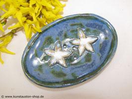 Seifenschale, fjordblau mit Seesternen