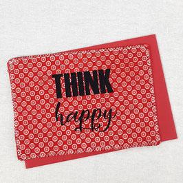 Carte postale tissu Think Happy rouge