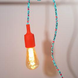Baladeuse câble textile turquoise et douille en silicone rouge orangé