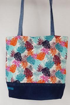 Tote bag réversible feuillage tropical / fleurs art déco