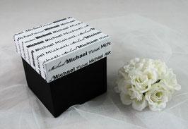 Schachtel, Deckel mit Name bedruckt