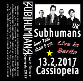 SUBHUMANS - Live in Cassiopeia/Berlin 2017 MC