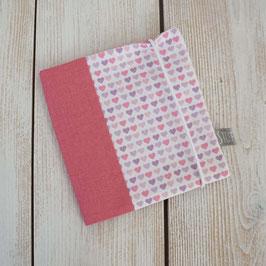 Pixibuchhülle Herzen rosa lila