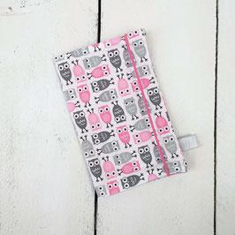 Mutter-Kind-Pass Hülle Eulen rosa grau