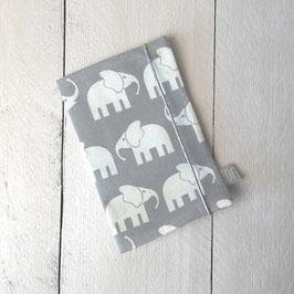 Mutter-Kind-Pass Hülle Elefanten grau mint