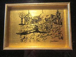 Quadretto foglia in oro 23kt. Campagna