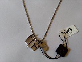 D&G Jewels collana acciaio piastrine pendenti