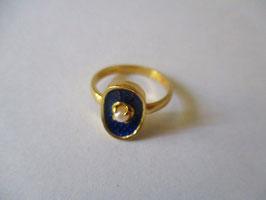 Anello smalto blu e perlina
