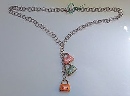 Collana in argento con borsette smaltate pendenti