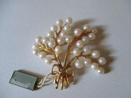 Spilla in argento placcato oro e perle