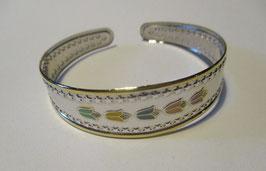 Bracciale in argento placcato oro sui bordi, fiorellini in smalto colorato e zirconi