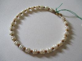 Bracciale perle di fiume con inserti in oro