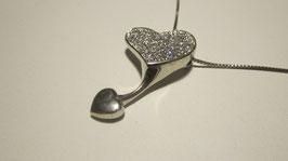 Doppio cuore Ciondolo in argento e zirconi