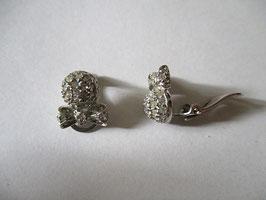 Orecchini argento e zirconi pallina e fiocco