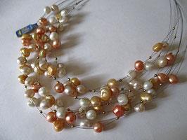Collana perle colorate montate su cavetto in acciaio